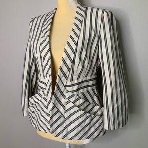 Nanette Lepore Linen Blue Striped Lined Blazer 8